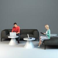 Stoliki do strefy wifi dla centrum handlowego wykonane z włókna szklanego