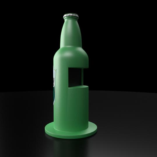 standy multimedialne w kształcie butelki z monitorem dotykowym wykonany z włókna szklanego