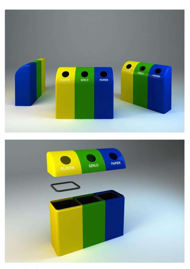 Pojemnik do segregacji odpadów z włókna szklanego